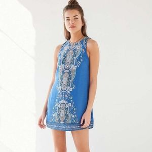 UO Ecote Guinevere Blue Keyhole Dress